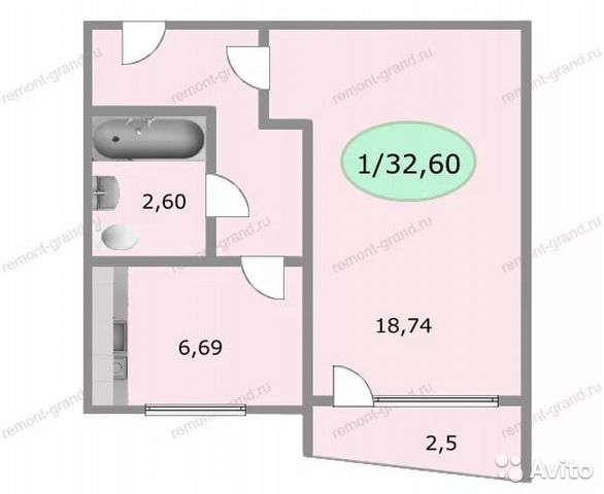 1-к квартира, 32 кв.м, 7/12 эт. festima.ru - мониторинг объя.