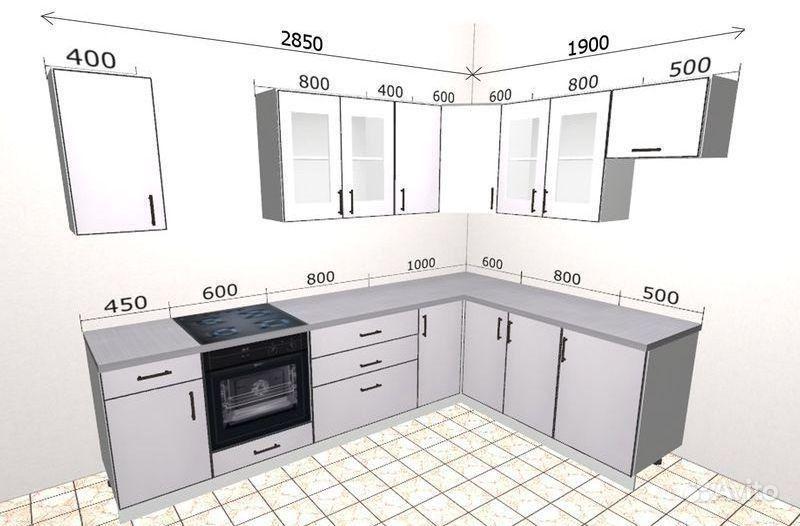 черно-белый кухонный гарнитур угловой фото