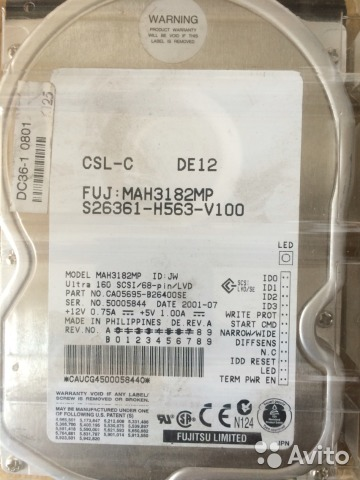 HDD Fujitsu MAH3182MP 18.4GB, 10K rpm, scsi 68 pin