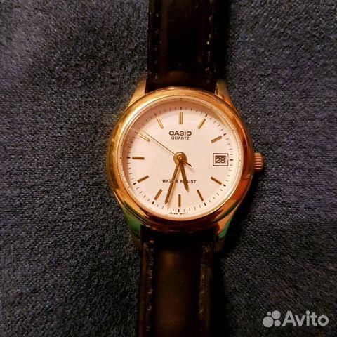 женские часы Casio с датой на кожаном ремешке купить в москве на