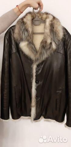 f9f67598a1c Мужская кожаная куртка с мехом волка и овчины