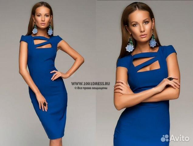 dfe53767808 Платье-футляр синее с интересным декольте.44-46 купить в Санкт ...