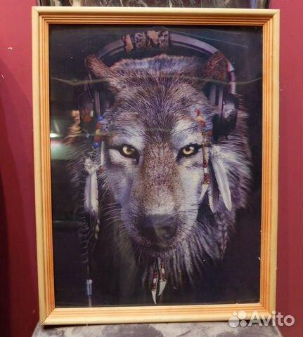 3D картина Волк в наушниках 89876961755 купить 1