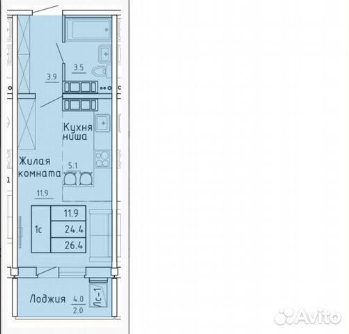 Студия, 26.4 м², 7/16 эт.  89091401736 купить 8