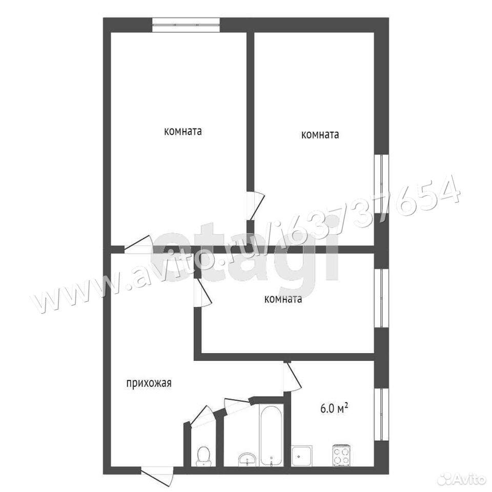 3-к квартира, 51 м², 3/5 эт.  89210690659 купить 9