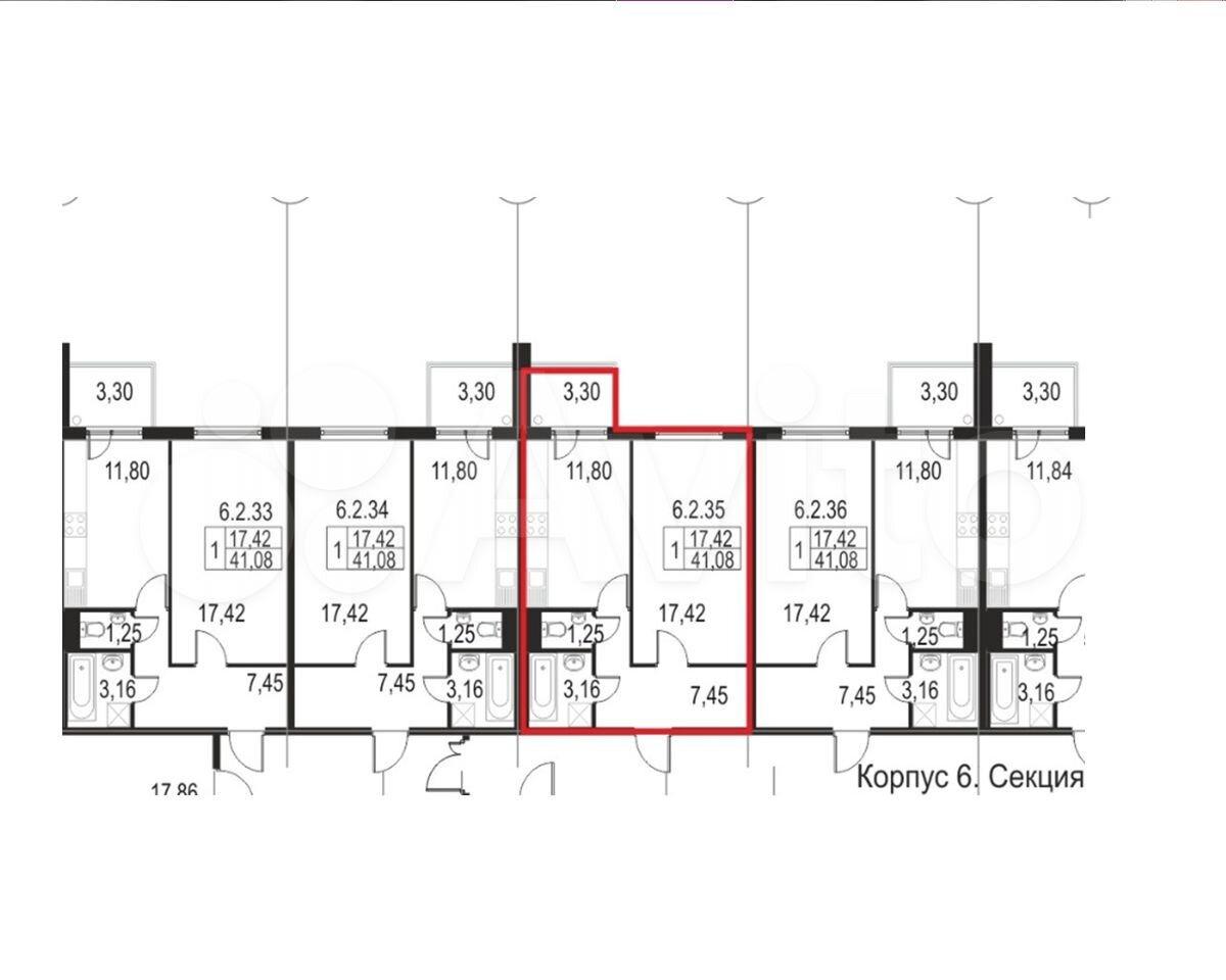 1-к квартира, 44.4 м², 2/5 эт.  89674990085 купить 3