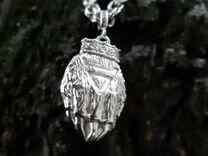 Цепь серебрянная мужская, с оберегом Велес